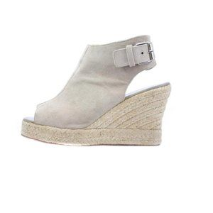 ELYSE WALKER Beige Suede Espadrille Wedge Sandals